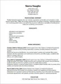job resume medical receptionist resume sle free