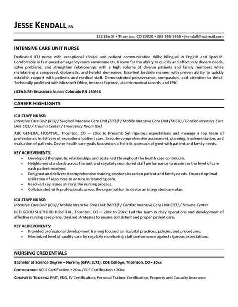 Icu Rn Resume by Free Icu Intensive Care Unit Resume Exle