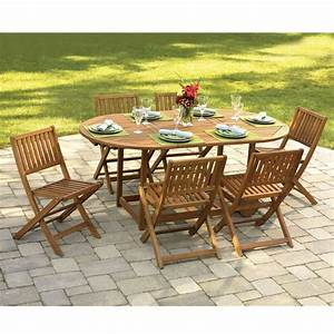 The gateleg patio table and stowable chairs hammacher for Lawn tables and chairs