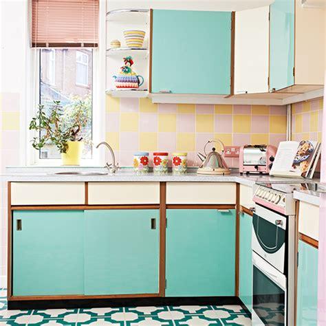 retro kitchen  vinyl floor  turquoise cabinetry