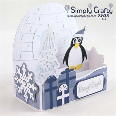 3d svg cut files for handmade gifts, home & party decor. Penguin Christmas Box Card SVG File - Simply Crafty SVGs