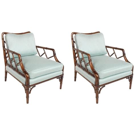 pair of faux bamboo chippendale lounge chairs for