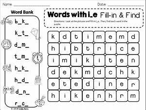 Long Vowels Word Search  Fill