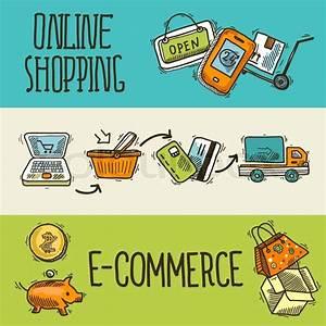 Set Online Shop : e commerce online shopping banner sketch set of delivery truck credit card piggy bank isolated ~ Orissabook.com Haus und Dekorationen