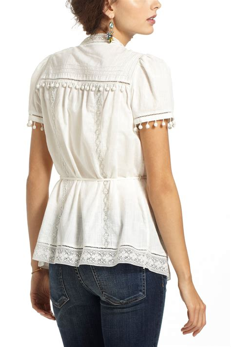 anthropologie blouses anthropologie glinted peasant blouse in lyst