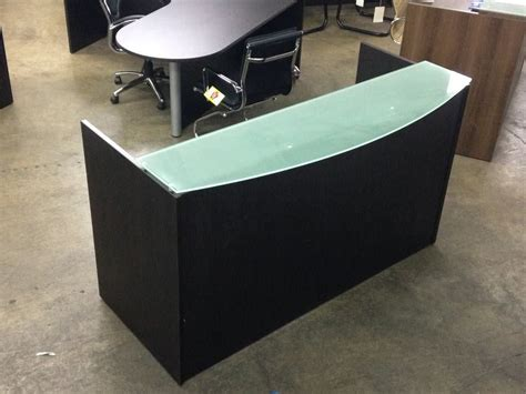 frosted glass desk top custom espresso reception desk with frosted glass