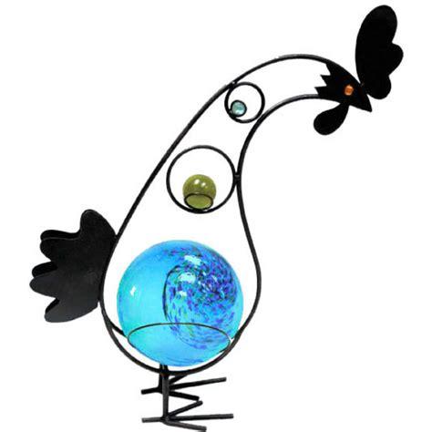 garden meadow solar garden meadow co 12 inch solar glass rooster with blue