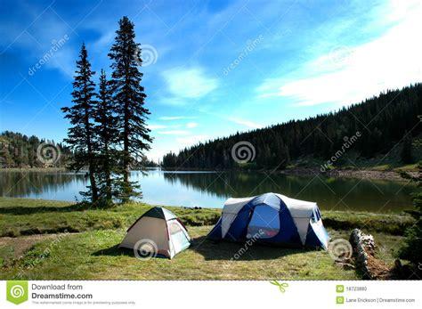 Camping Tents Near Lake Stock Photo Image Of Natural