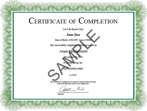 Anger Management Certificate Template by Anger Management Certificate Of Completion