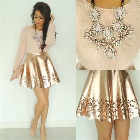 Jyoti Kiran - Fluffy Knitted Jumper Missguided Rose Gold Skater Skirt Studded Clutch Studded ...