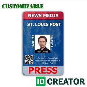 Vertical press pass order in bulk from idcreatorcom for Media pass template