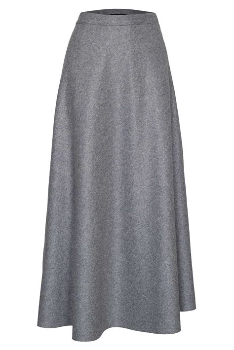 james lakeland long wool high waist skirt  gray lyst