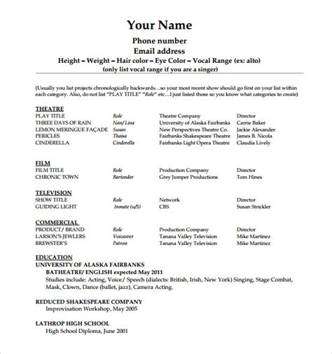 Resume Templates For Beginners by Acting Resume Template 19 In Pdf Word Psd