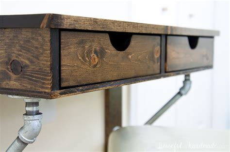 easy rustic industrial wall mounted desk build plans