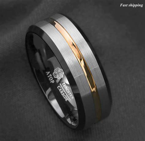 mm silver brushed black edge tungsten ring gold stripe