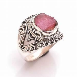 Pink Tourmaline Raw Gemstone 925 Sterling Silver Ring Size 7
