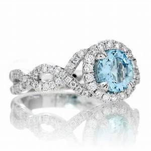 round 6mm aquamarine engagement ring diamond halo twist shank With aquamarine diamond wedding ring