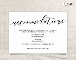wedding accommodations template printable accommodations With wedding invitation inserts hotel info