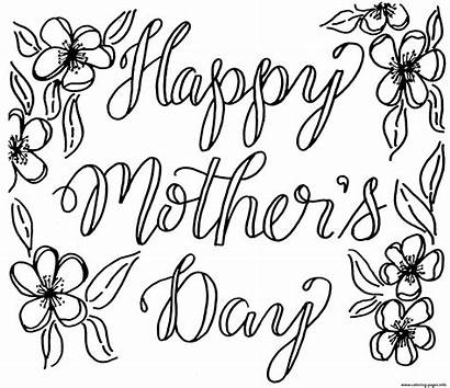 Mothers Mother Coloring Card Happy Flowers Pages