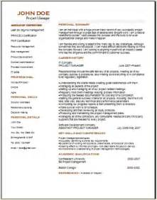 free professional resume templates downloads project management resume occupational exles sles free edit with word