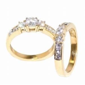 Gold ion plated stainless steel none tarnish womens for Wedding rings sets for women