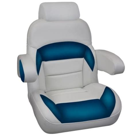 Aftermarket Pontoon Boat Seats by Captains Low Back With Flip Up Arms And Headrest