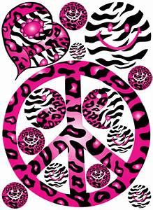 Hot Pink 60's Peace Sign Cheetah and Zebra Print Wall ...