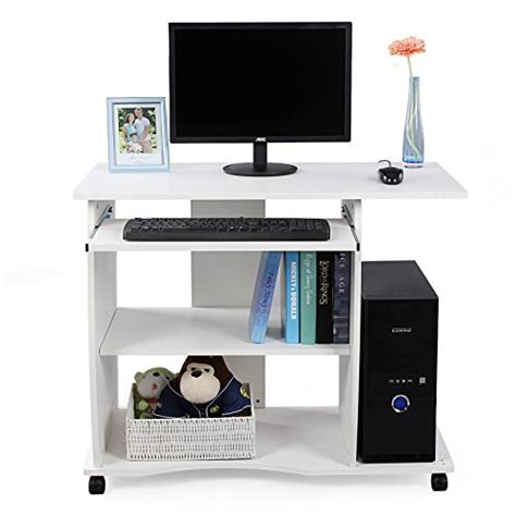 bureau avec tablette pour clavier songmics 90 x 50 x 75 cm mdf bureau informatique avec 4