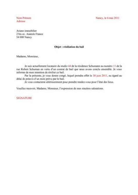 bail bureaux mod e contrat de résiliation de bail modèle de lettre