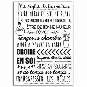 Regle De La Maison A Imprimer : motif thermocollant les r gles de la maison ~ Dode.kayakingforconservation.com Idées de Décoration