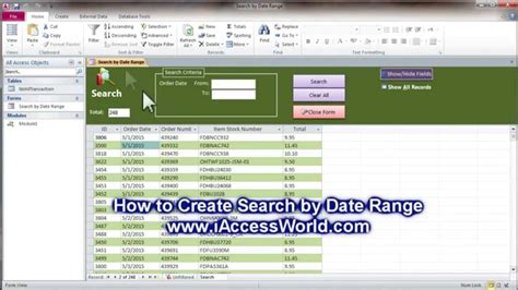 how to create search by date range ms access youtube