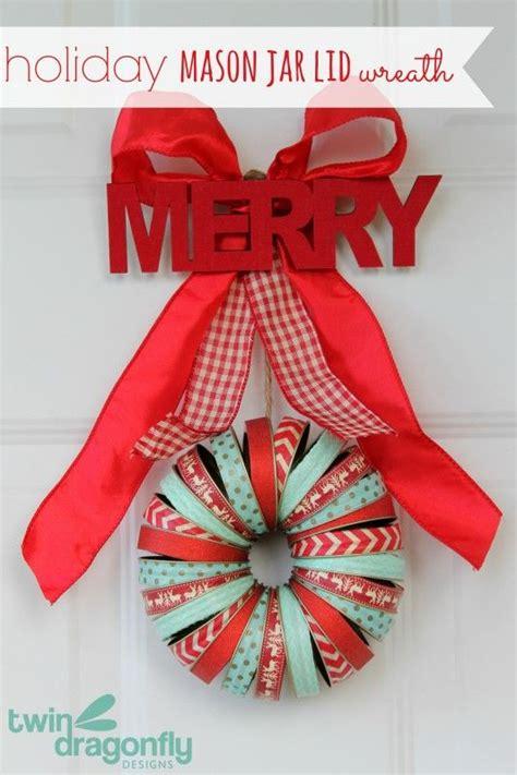christmas wreaths   mason jar lids christmas