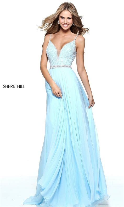 light blue homecoming dresses v back jeweled bodice sherri hill prom dress promgirl