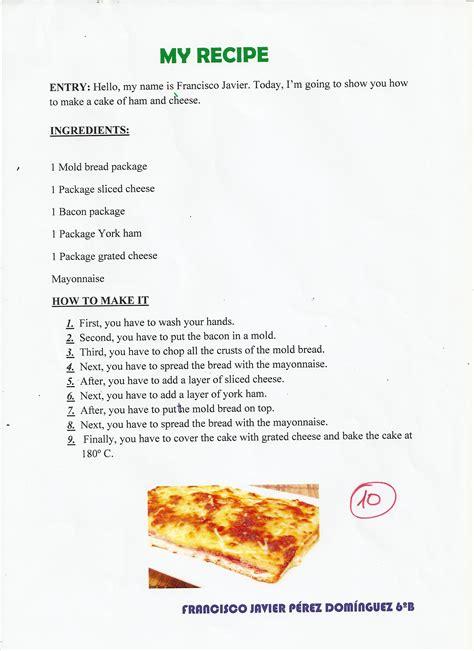 recetas en ingles periodico escolar platero  yo