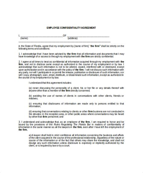 Employee Confidentiality Agreement Business Forms by 9 Employee Confidentiality Agreement Templates Free