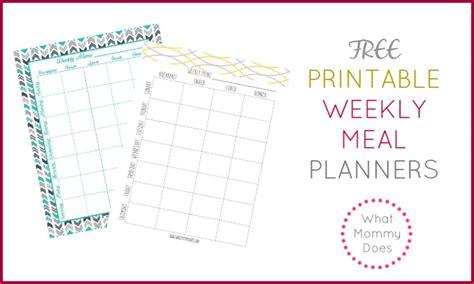 printable weekly meal plan template super cute menu
