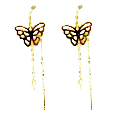 butterfly designed 18k solid yellow gold sliding pearl