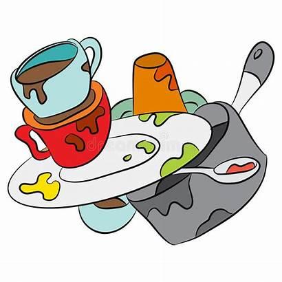 Dirty Cartoon Dishes Clipart Comic Clip Vaisselle