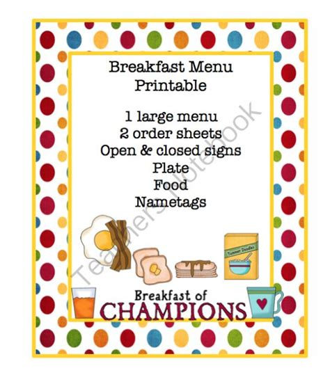 breakfast menu printable on discover the 400 | 2939e3382395a807994e8c55669f38d1