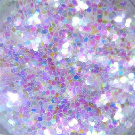 Rainbow White glitter, Large Hex Cut