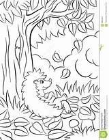 Hedgehog Tree Coloring Pages Drawing Fall Autumn Leaves Bushes Kind Sits Near Smiles Vector Cartoon sketch template