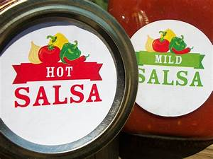 mild medium hot salsa canning labels round mason jar With custom salsa labels