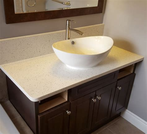 bathroom vanity countertop  iced white quartz
