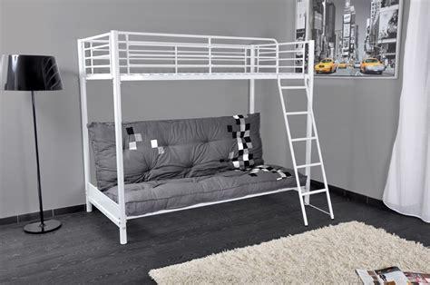 lit en hauteur avec canap lit mezzanine blanc mezzaclic 2 lestendances fr