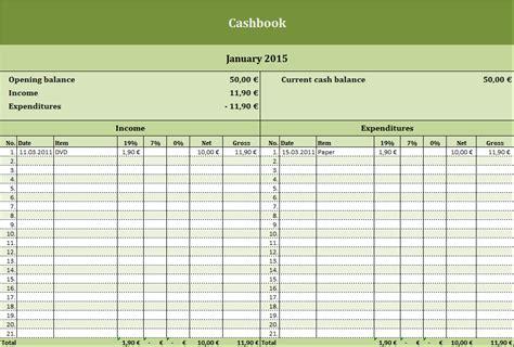 cashbook  excel template