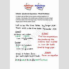 Emath  Quadratic Equations  Word Problems (2)  Singapore Additional Math (amath) And Math