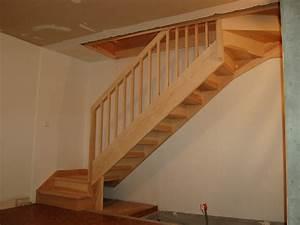 Escalier Droit Bois : fabriquer un escalier en bois quart tournant ~ Premium-room.com Idées de Décoration