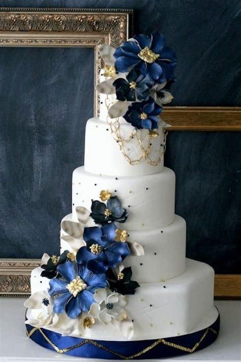 navy wedding cake flowers pearl pretty