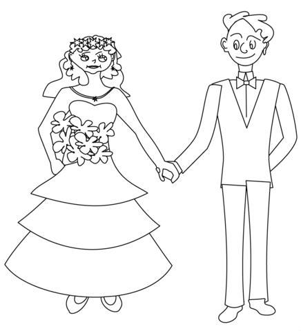 happy bride  groom coloring page  printable