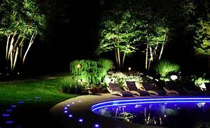 Landscape lighting ideas blue led pool luxury backyard